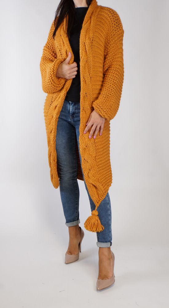 Lange Strickjacke orange
